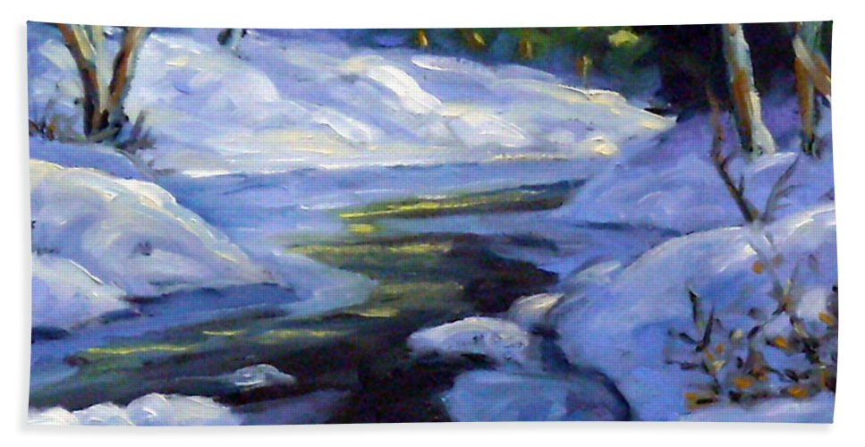 Art Bath Sheet featuring the painting Luminous Snow by Richard T Pranke