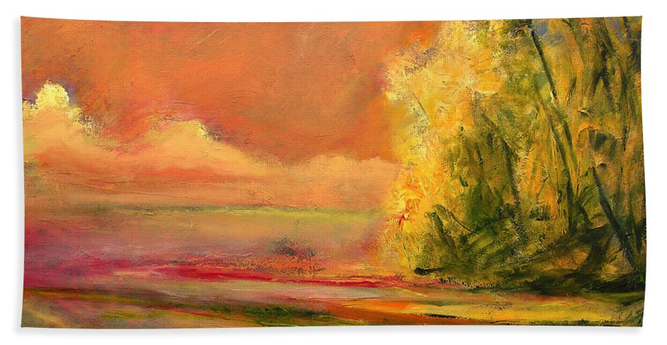 Large Canvas Reproductions Bath Sheet featuring the painting Luminous Sunset 2-16-06 Julianne Felton by Julianne Felton