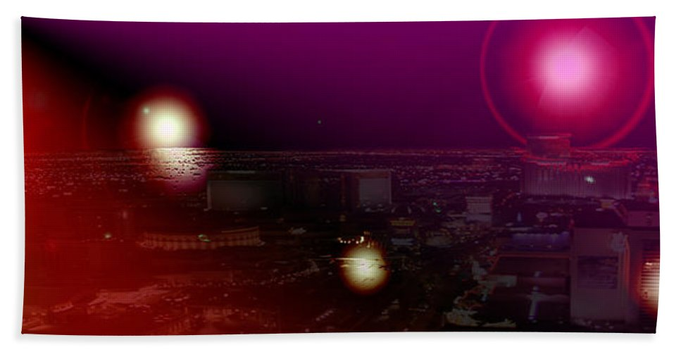 Las Vegas Strip Moon Stars Lunar Sky Planets Orbit Space Bath Sheet featuring the photograph Luna Vegas by Andrea Lawrence