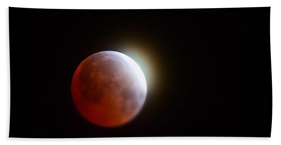 Blood Moon Bath Sheet featuring the photograph Lunar Eclipse 2015 by Saija Lehtonen