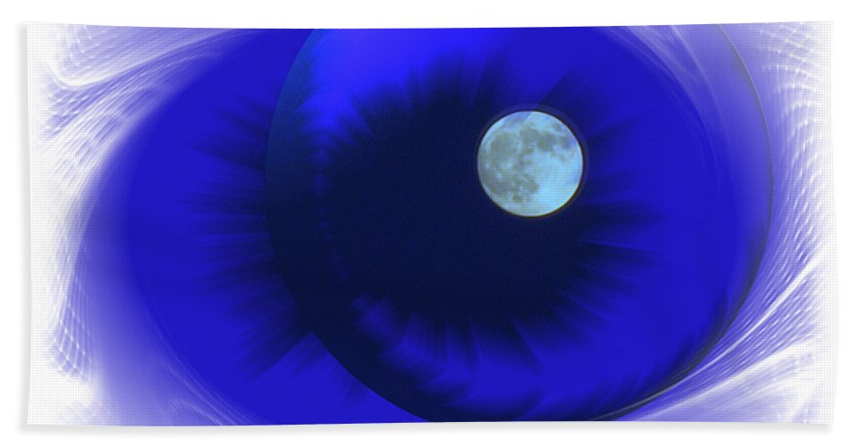 Moon Hand Towel featuring the photograph Lunarblue by Joyce Dickens