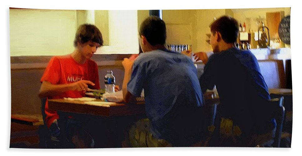 Restaurant Bath Sheet featuring the painting Lunch At The Cafe Downtown by RC DeWinter