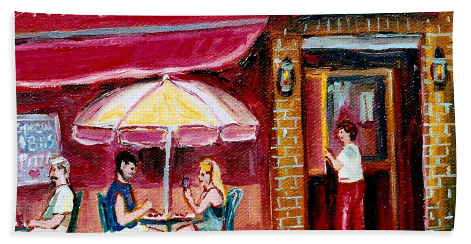 Mazurka Restaurant Bath Towel featuring the painting Lunch At The Mazurka by Carole Spandau