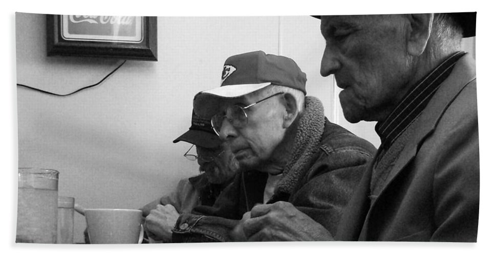Diner Bath Towel featuring the photograph Lunch Counter Boys - Black And White by Tim Nyberg