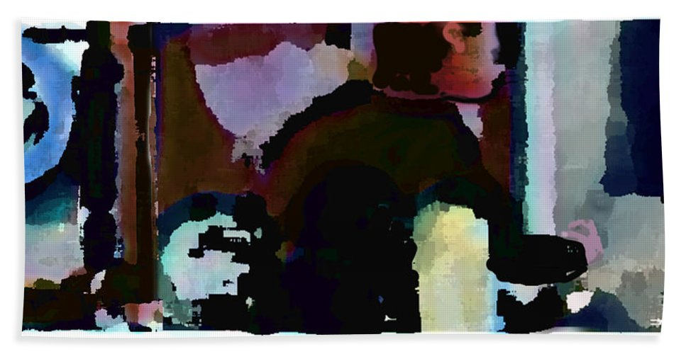 Abstract Expressionism Bath Towel featuring the painting Lunch counter by Steve Karol