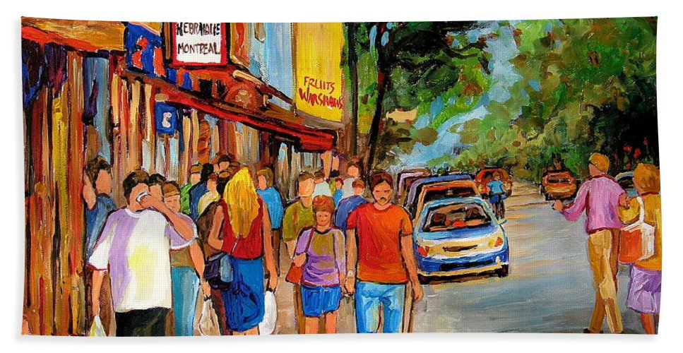 Montreal Streetscenes Bath Sheet featuring the painting Lunchtime On Mainstreet by Carole Spandau