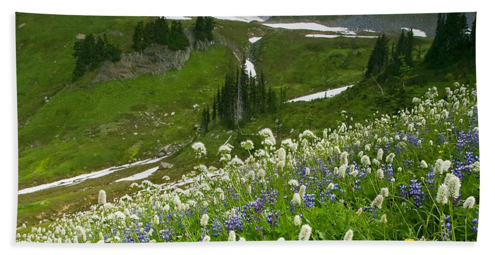 Rainier Bath Sheet featuring the photograph Lupine Storm by Mike Dawson