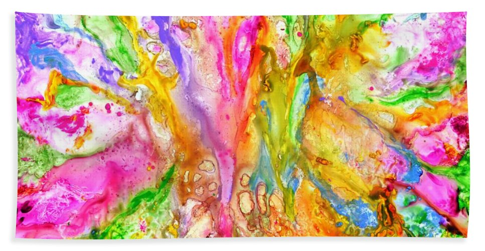 Abstract Bath Towel featuring the painting Luscious colorful modern abstract with pastel shades by Manjiri Kanvinde