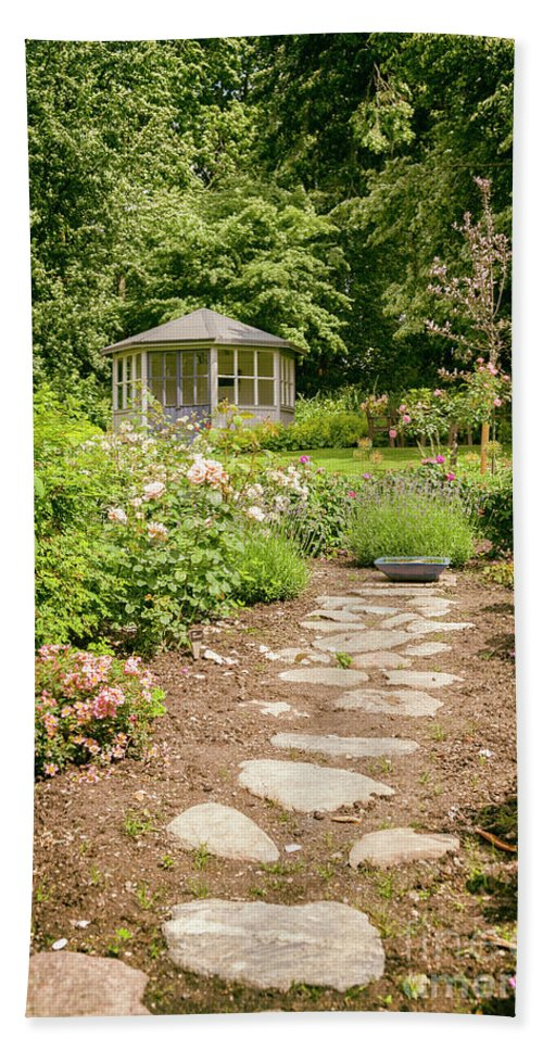 Path Bath Sheet featuring the photograph Lush Landscaped Garden by Sophie McAulay