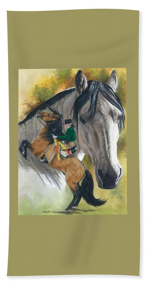 Hoof Stock Hand Towel featuring the mixed media Lusitano by Barbara Keith