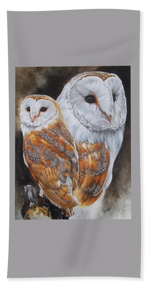 Bird Hand Towel featuring the mixed media Luster by Barbara Keith