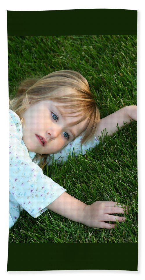 Girl Bath Sheet featuring the photograph Lying In The Grass by Margie Wildblood