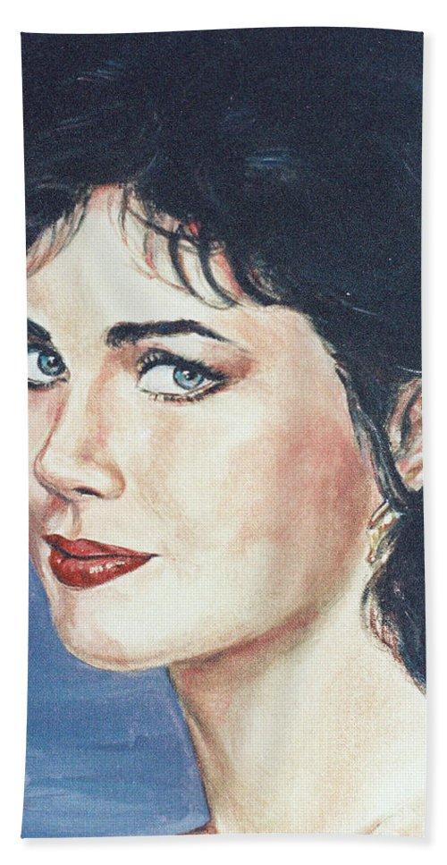 Lynda Carter Hand Towel featuring the painting Lynda Carter by Bryan Bustard