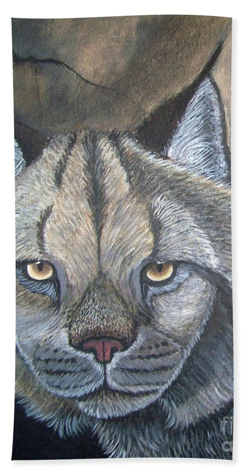 Lynx Hand Towel featuring the painting Lynx by Nick Gustafson