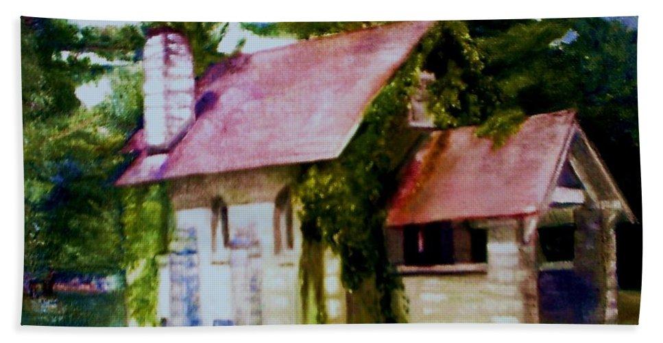 Church Bath Sheet featuring the painting Lyons Falls Church by Sheila Mashaw