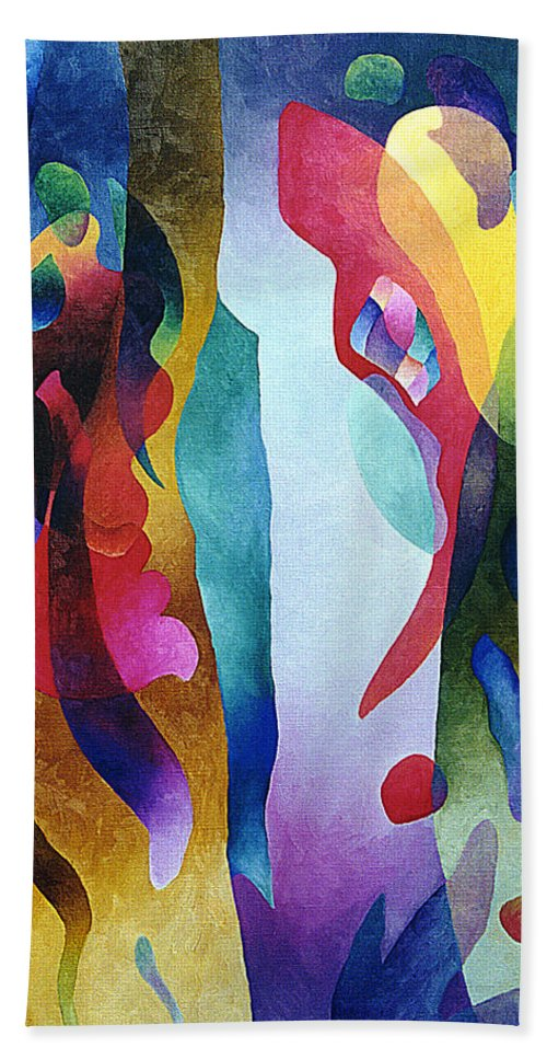 Abstract Bath Towel featuring the painting Lyrical Grouping by Sally Trace