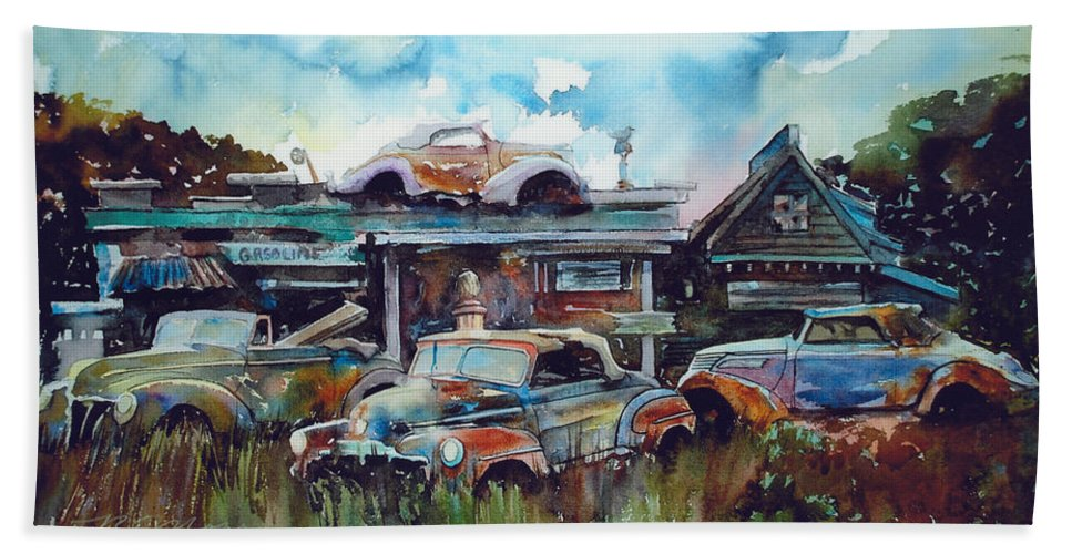 Fords Bath Towel featuring the painting Lytton Station by Ron Morrison