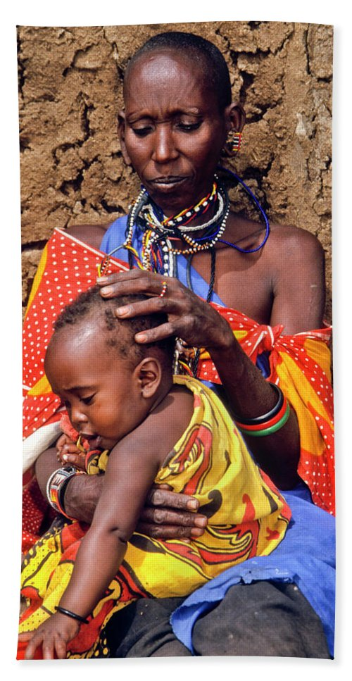 Africa Bath Sheet featuring the photograph Maasai Grandmother And Child by Michele Burgess