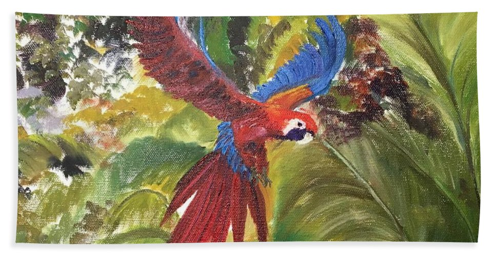Macaw Bath Sheet featuring the painting Macaw Parrot 3 by Cheryl Damschen
