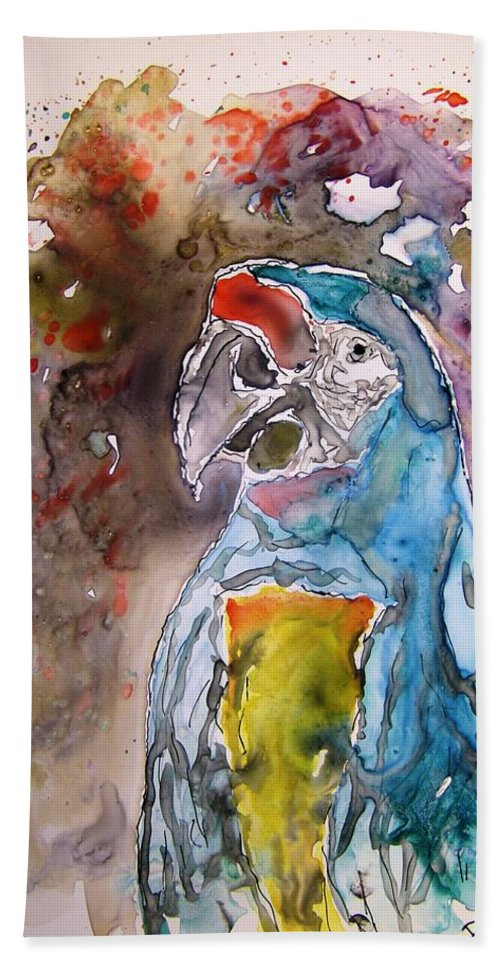 Parrot Bath Sheet featuring the painting Macaw Parrot by Derek Mccrea