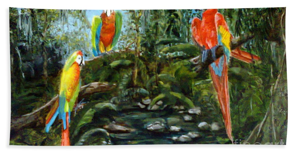 Macaws Hand Towel featuring the painting Macaws by Silvana Miroslava Albano