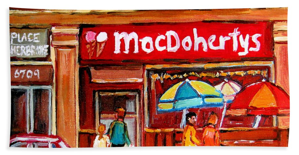 Macdohertys Bath Towel featuring the painting Macdohertys Icecream Parlor by Carole Spandau
