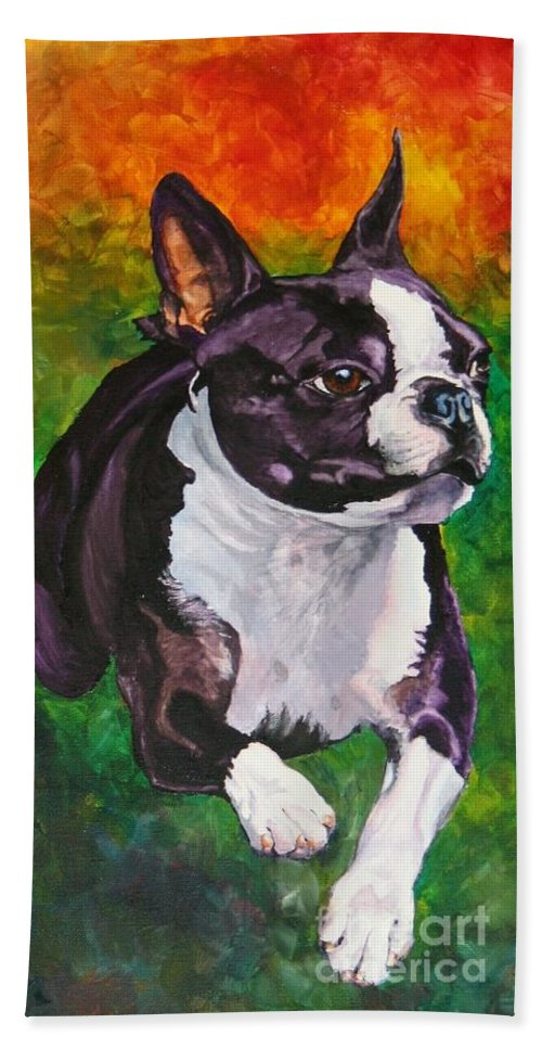 Boston Terrier Bath Sheet featuring the painting Mach Ellie by Susan Herber