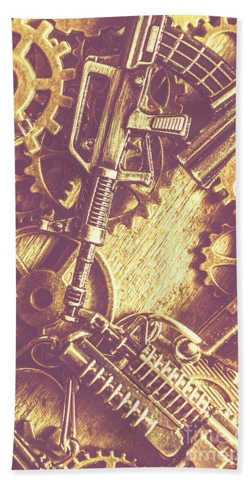 Firearms Bath Towel featuring the photograph Machine Guns by Jorgo Photography - Wall Art Gallery