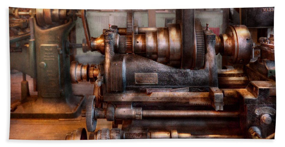 Machinist Bath Sheet featuring the photograph Machinist - Steampunk - 5 Speed Semi Automatic by Mike Savad
