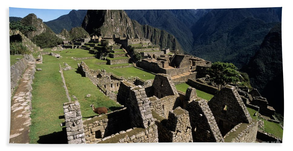 Machu Picchu Hand Towel featuring the photograph Machu Picchu Residential Sector by James Brunker