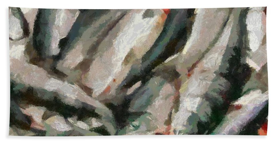 Seafood Hand Towel featuring the painting Mackerel by Dragica Micki Fortuna