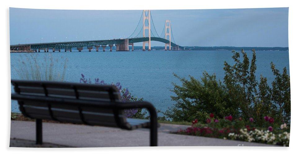 Mackinac Bath Sheet featuring the photograph Mackinac Bridge 4 by Wesley Farnsworth