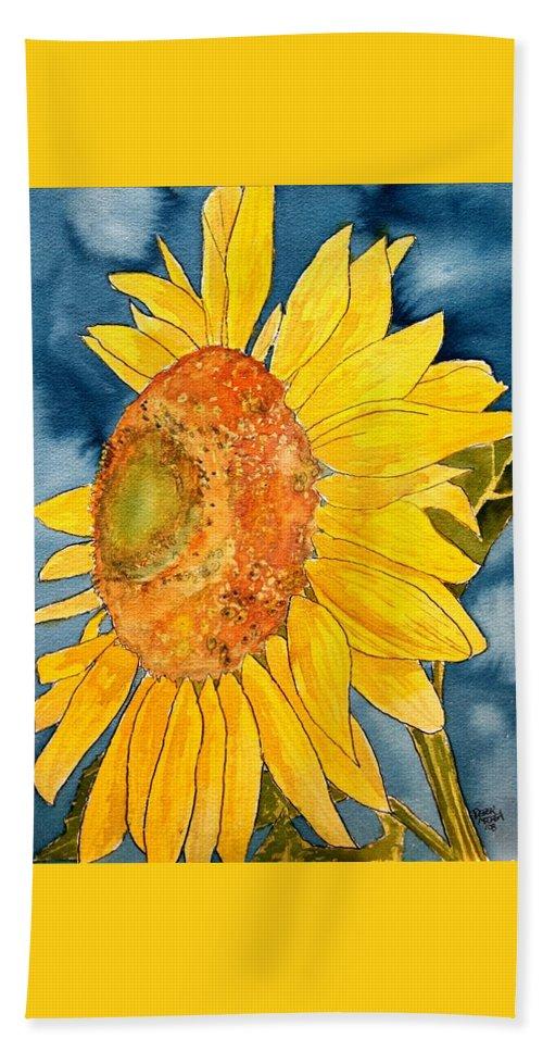 Sunflower Bath Sheet featuring the painting Macro Sunflower Art by Derek Mccrea