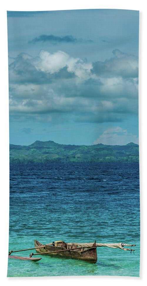 Madagascar Hand Towel featuring the photograph Madagascar, Nosy Be, Small Boat In Sea by Michael Jacobs