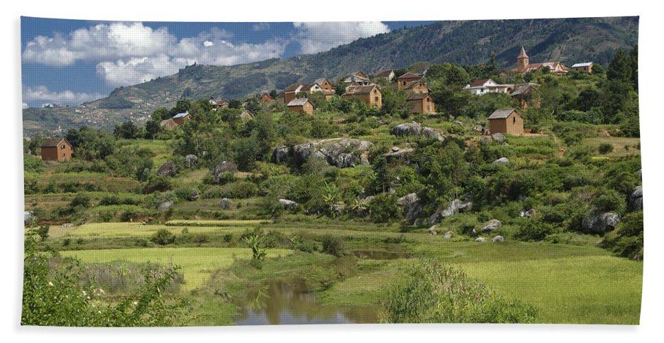 Madagascar Bath Sheet featuring the photograph Madagascar Village by Michele Burgess