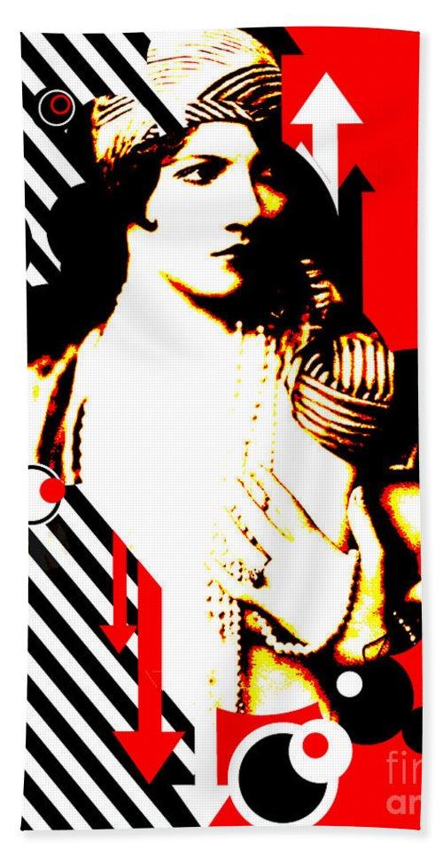 Nostalgic Seduction Bath Sheet featuring the digital art Madam Stripe by Chris Andruskiewicz