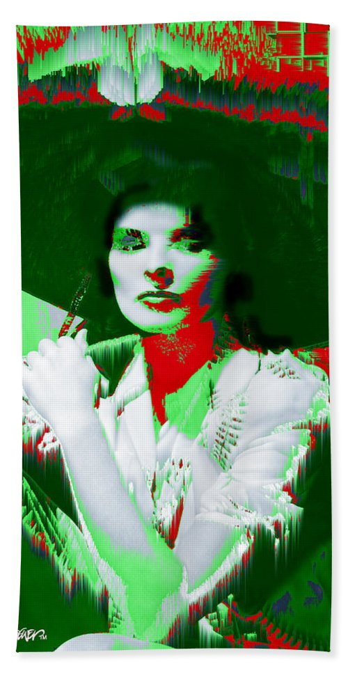 Katherine Hepburn Hand Towel featuring the digital art Madame Kate And The Big Hat by Seth Weaver