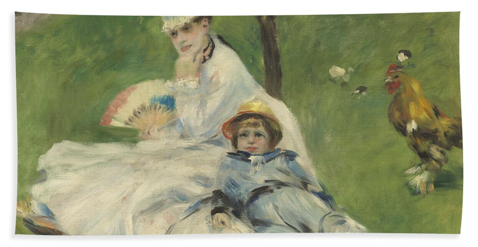 Auguste Renoir Hand Towel featuring the painting Madame Monet And Her Son by Auguste Renoir