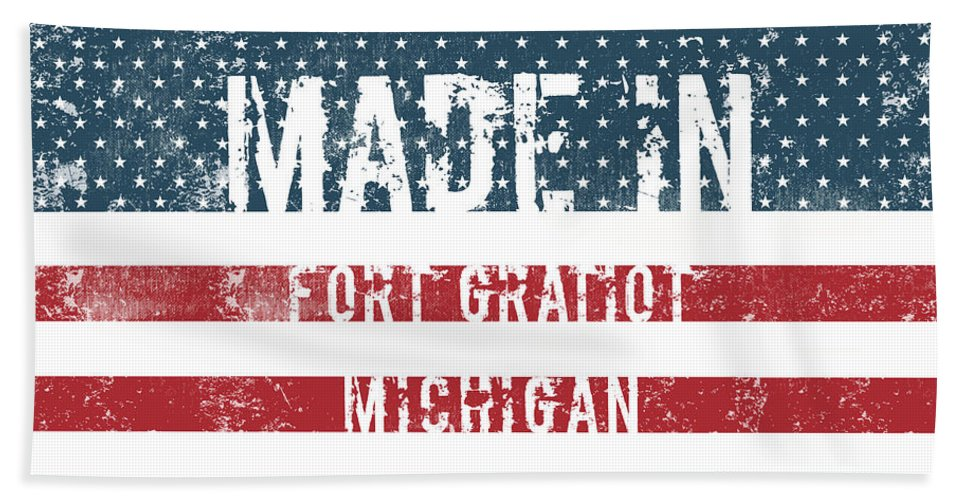 Fort Gratiot Bath Sheet featuring the digital art Made In Fort Gratiot, Michigan by GoSeeOnline