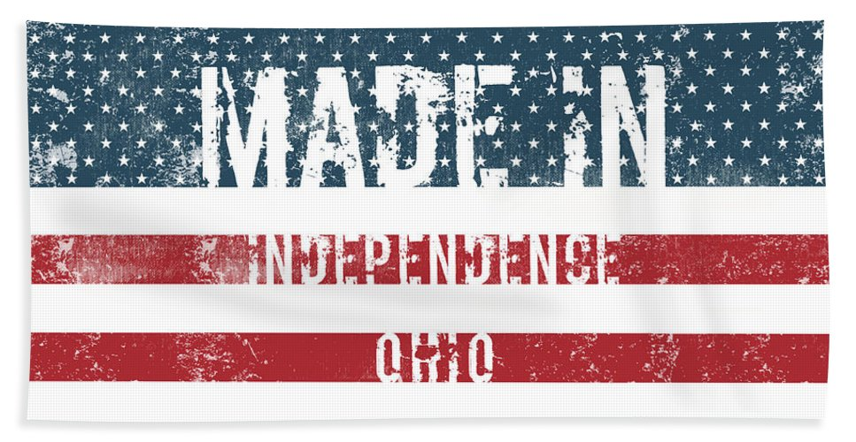 Independence Bath Sheet featuring the digital art Made In Independence, Ohio by GoSeeOnline