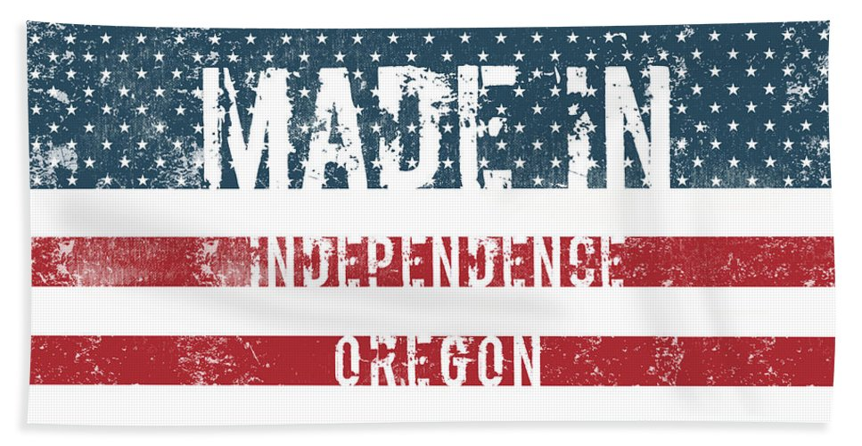Independence Bath Sheet featuring the digital art Made In Independence, Oregon by GoSeeOnline