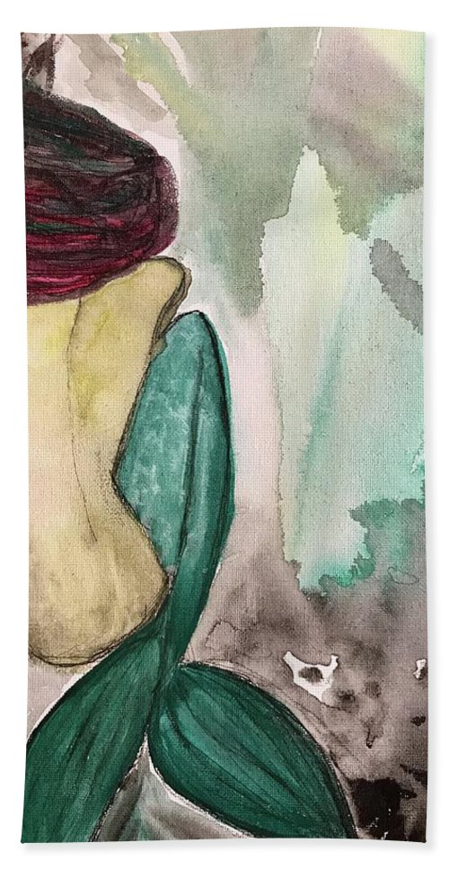 Mermaid Bath Sheet featuring the painting Made by Katy Flach