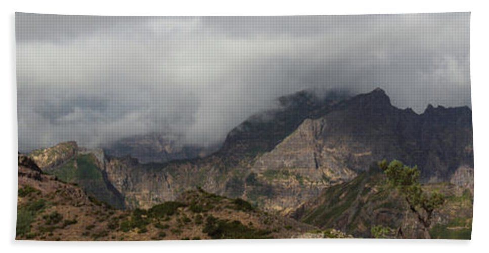 Maderia Bath Sheet featuring the photograph Maderia Mountains by Ceri Jones