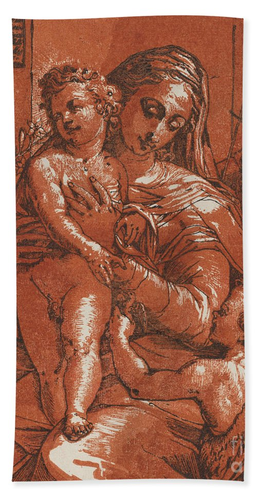 Hand Towel featuring the drawing Madonna And Child Accompanied By Saints by Andrea Andreani After Jacopo Ligozzi