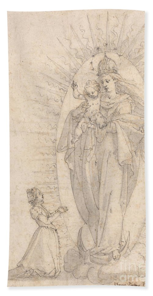 Hand Towel featuring the drawing Madonna And Child Appearing To A Supplicant by Georg Neher