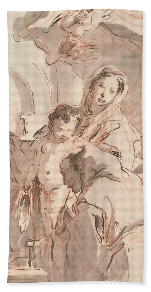 Italian Artist Hand Towel featuring the drawing Madonna And Child With Saint by Giovanni Battista Tiepolo