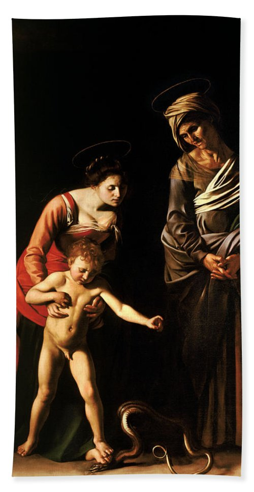 Madonna And Child With St Anne Hand Towel For Sale By Caravaggio