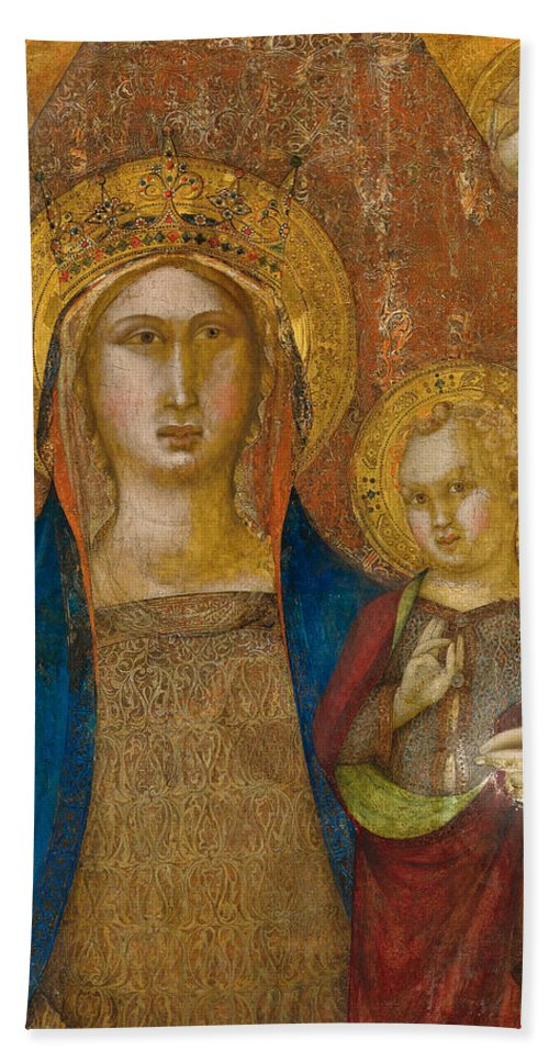 Niccolo Di Ser Sozzo Bath Sheet featuring the painting Madonna And Child With Two Angels by Niccolo di ser Sozzo