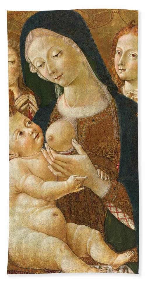 Pietro Di Domenico Hand Towel featuring the painting Madonna And Child With Two Angels by Pietro di Domenico