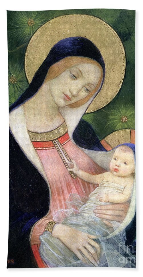 Madonna Of The Fir Tree Bath Towel featuring the painting Madonna Of The Fir Tree by Marianne Stokes
